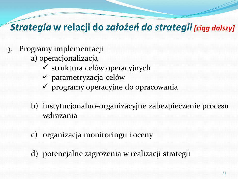 Strategia w relacji do założeń do strategii [ciąg dalszy]